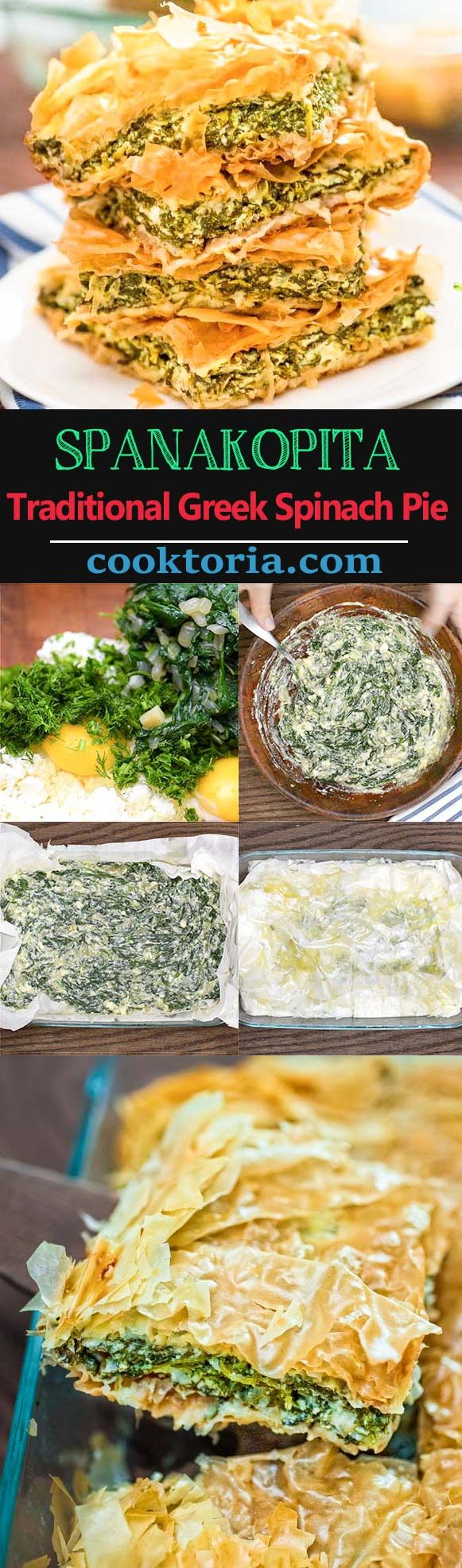Layers of flaky phyllo dough paired with smooth and flavorful spinach-feta filling, make thisSpanakopita (Traditional Greek Spinach Pie) a great lunch or light dinner. ❤ COOKTORIA.COM