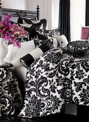 Black White Damask Bedroom Decor 3