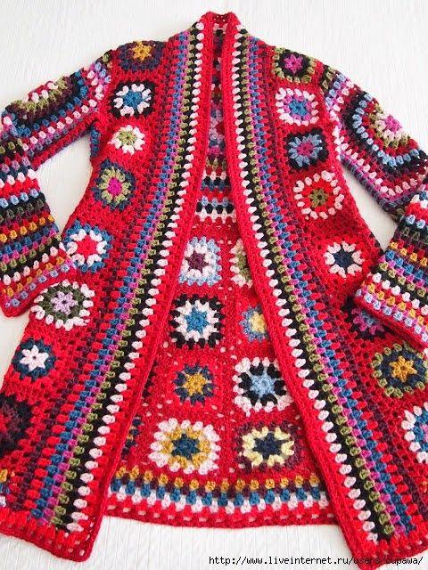 płaszcz kwadraty | Kraina wzorów szydełkowych...Land crochet patterns..