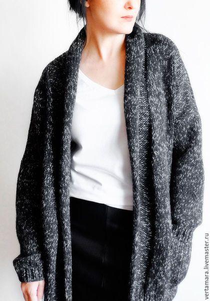 Кофты и свитера ручной работы. Кардиган кашемировый (темно-серый с белым меланж). Тамара (Verta Mara). Вязаная одежда. Ярмарка Мастеров.