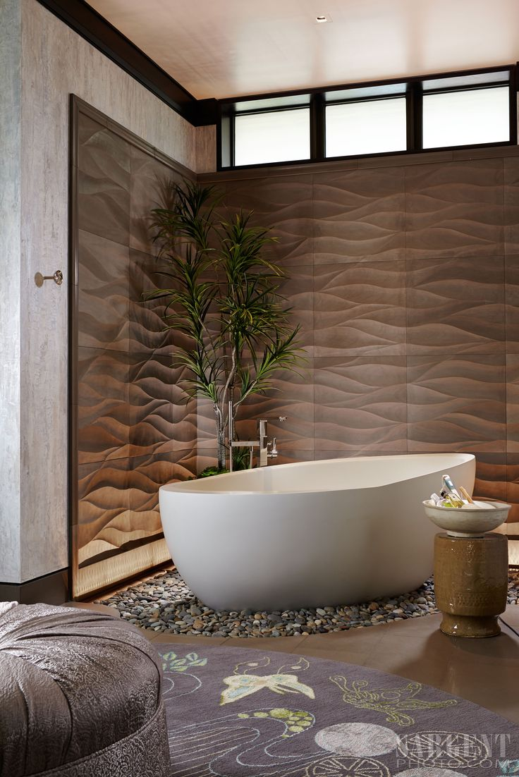 Contemporary Master Bath, Egg Shaped Stand Alone Tub Resting On A Bed Of  River Rocks