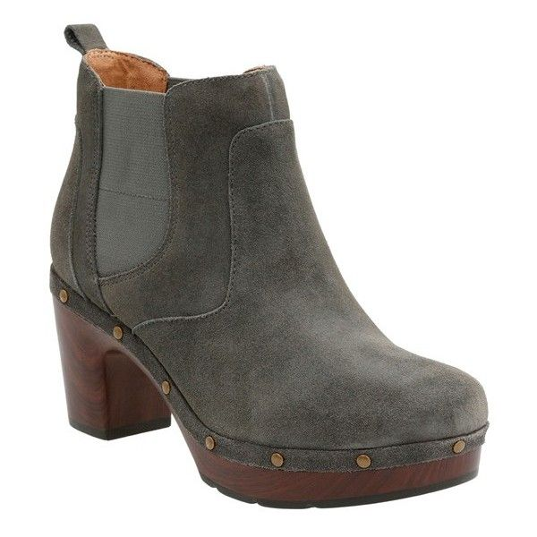 Women's Clarks 'Ledella Star' Platform Chelsea Boot (9,385 INR) ❤ liked on Polyvore featuring shoes, boots, grey suede, grey chelsea boots, suede platform boots, beatle boots, grey boots and gray boots