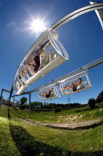 Suspended capsule biking! New Zealand