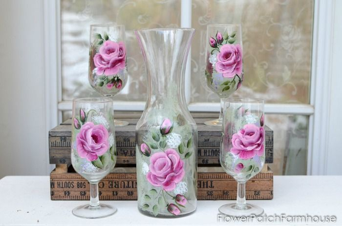 Rose Wine Set 1, FlowerPatchFarmhouse.com (1 of 3)