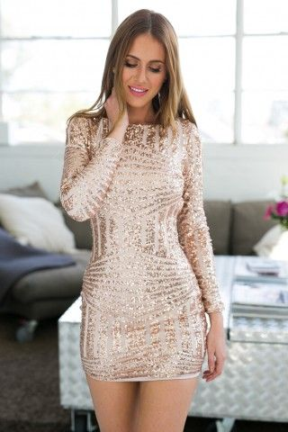 Rose Gold Long Sleeve Open Back Bodycon Sequin Dress | USTrendy