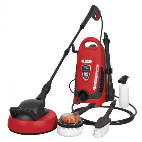 """Lightweight, powerful entry level unit designed for domestic use. Ideal for a range of applications including cleaning vehicles, patios, decking, motorbikes and barbecues. Fitted with a powerful 1300W motor with 318 litre water flow per hour and a maximum pressure output of 110bar. Features """"Automatic Total Stop System"""" (TSS) which switches the motor on and off when the trigger is operated, prolonging motor life."""