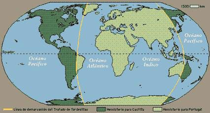 Het verdrag van Tordesillas. In 1494 sluiten de Spanjaarden en de Portugezen het verdrag van Tordesillas, waarbij zij de nieuw ontdekte gebieden in het westen verdelen. Ze doen dit om rijkdommen te verdelen, oorlog te voorkomen en voor *expansie* zo onstaan er *kolonies* omdat ze gebied buiten Europa als bezit nemen.