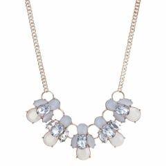 Rose gold crackle crystal cluster necklace