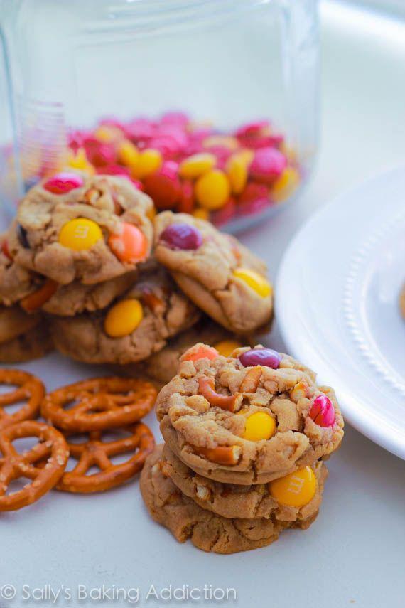 Bite Size Peanut Butter Pretzel MM Cookies by Sallys Baking Addiction #cookies