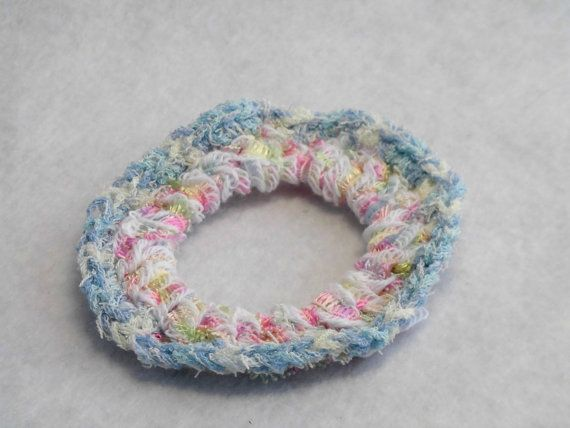 "Kids size scrunchie / Japanese hand kawaii shushu / Crocheted Scrunchie / Mixed Pastel color - 2.7""(7cm) #k6 by YuminaCafe"