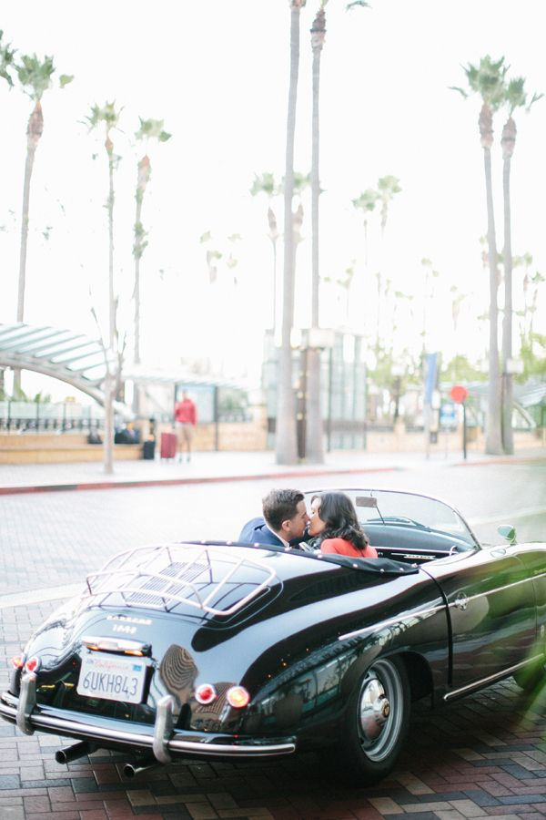 Downtown urban engagement session in a classic car