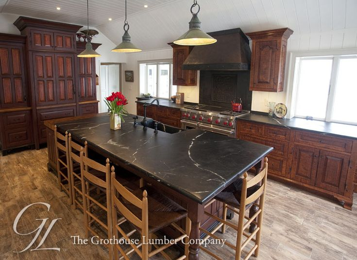 Teak Butcher Block Countertop In Old Forge, Pennsylvania Designed By Old  Town Woodworking Of End Grain Construction And Finished With The Grothouse  Original ...