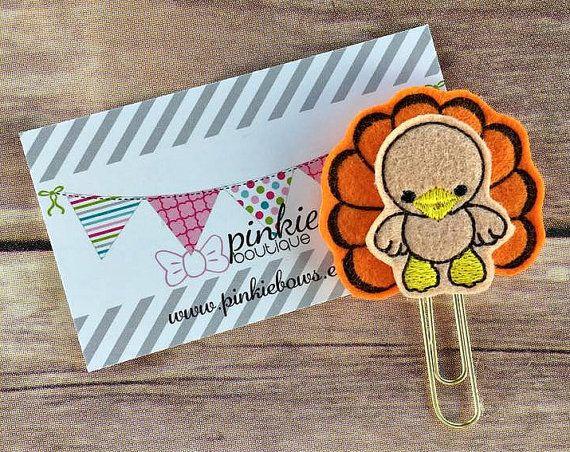 Thanksgiving/Turkey/Felt Applique Paper Clip/Planner
