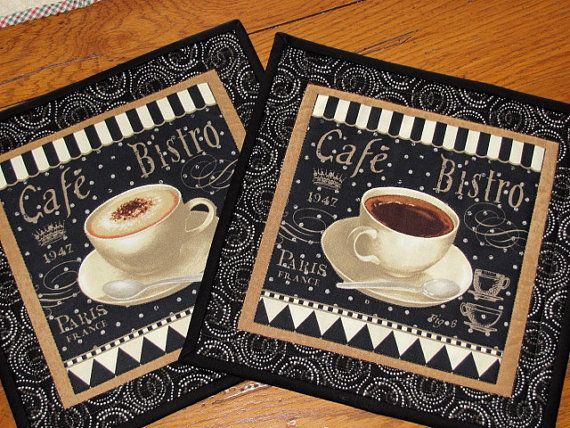 Quilted Mug Rugs French Country Bistro Cafe Cottage Chic