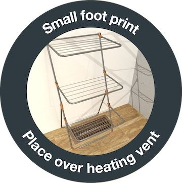 Hills Trilogy Versatile Clothes Airer - place over heating vent to dry clothes quickly and add humidity to your room!
