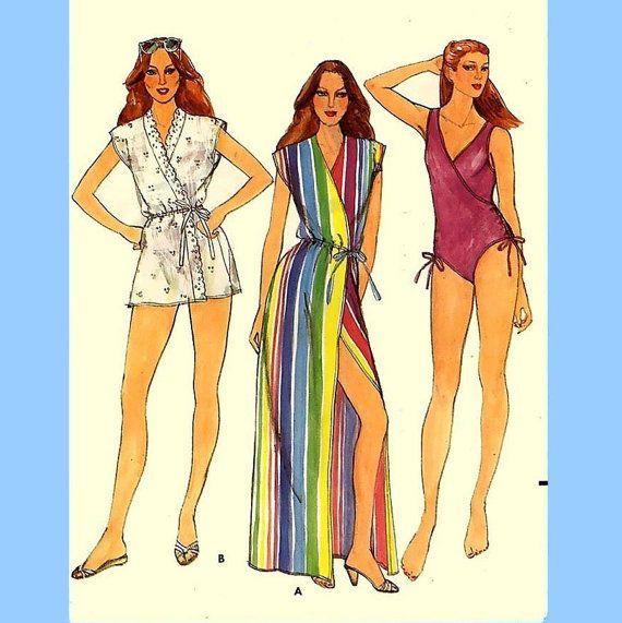 383 Butterick 3902 Misses Teens Swimsuit & Wrap by ladydiamond46