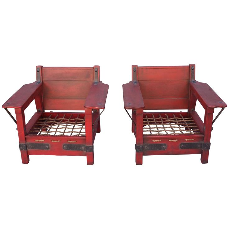Good Pair Of Rare Red Classic Monterey Furniture Club Chairs