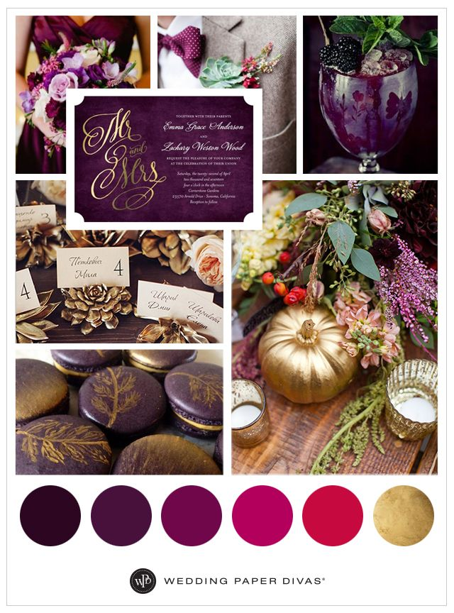 Glam Fall Purple and Gold Wedding Ideas