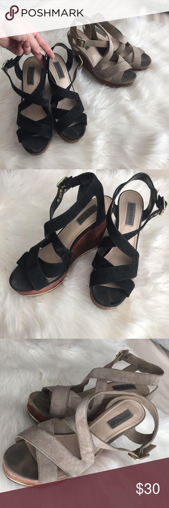 Steve Madden Tan and Black Wedge Sandals 2 Pairs 1 inch platform. 4 inch heel Steve Madden Shoes Wedges
