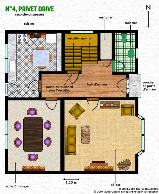 Plan du n 4 privet drive harry potter pinterest for 12 grimmauld place floor plan