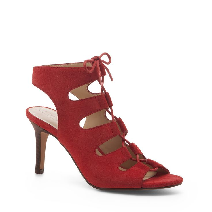 Rosalie lace up mid heel Red 9 5