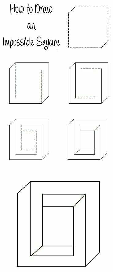 How to draw an Impossible Square - this would also work as a mind-bending crafting template...