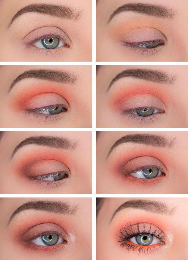 Fresh summer eye makeup idea for blue eyes