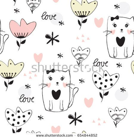 seamless pattern with cat and flower, cat cartoon, vector textile fabric print, wrapping paper vector illustration