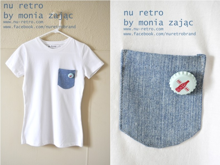 "Awesome 100% cotton T-shirt with a neat jean pocket and ""bottle cup "" brooch!  Designed and made by Monia Zając NU RETRO  size: Medium ( US)  fitted"