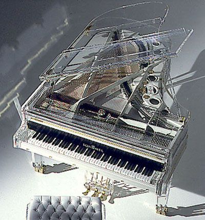Transparent concert piano- like all those times you lift the piano lid to see the inner workings... but you wouldn't have to lift the lid! I wonder, though, if the material (glass? plastic?) would affect the acoustics?