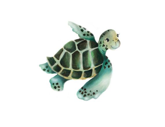 New Baby Sea Turtle Painting Nursery Wall Decor Sea by studioQgallery