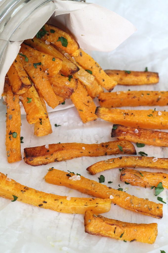 Butternut Squash Fries. Keep the healthy eating on track throughout winter with these delicious baked butternut squash fries
