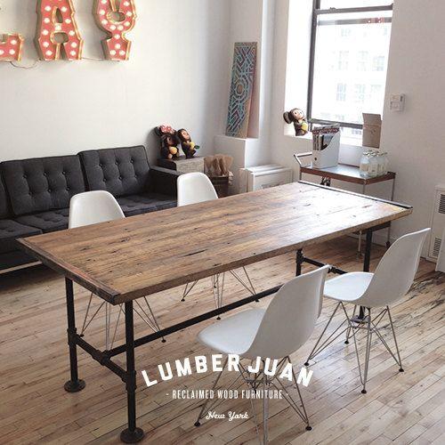 Mesa de conferencia de madera reciclada por LumberJuan en Etsy