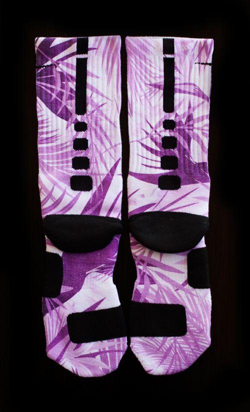 Custom Nike Elite Socks - Thesockgame.com — Lebron 10 Purple Paradise Custom Nike Elite Socks