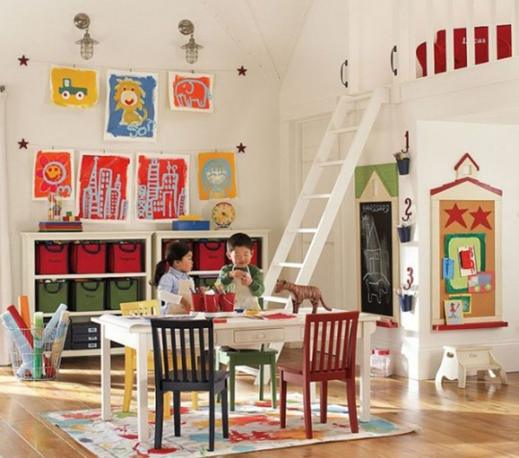 White Walls With Colorful Accents · Playroom DesignKid PlayroomPlayroom  IdeasChildren ...