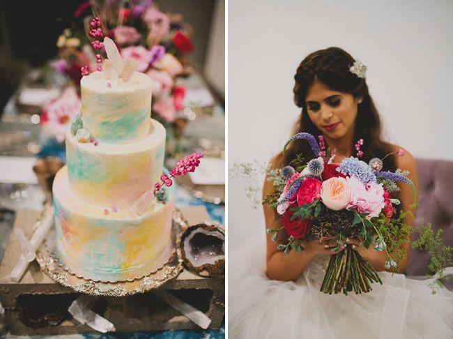 Stylish and romantic wedding inspiration - watercolor cake