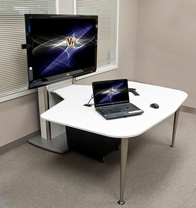 The collaboration table model T324 brings a clean high-tech look to today's educational rooms. Please click the image for more details and available packages.