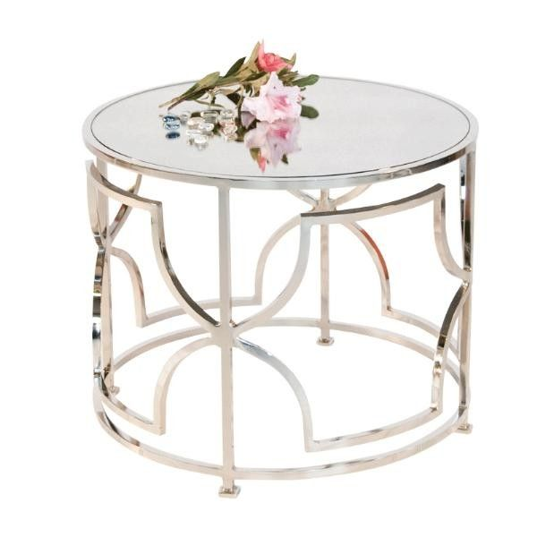 "This lovely cocktail table features a low design and is great to use in pairs in front of a sofa. The table features a nickel finish with an antique mirror top. Table measures 20"" in diameter X 16""H. The table is also available in a gold leaf finish. Click on image for greater detail."