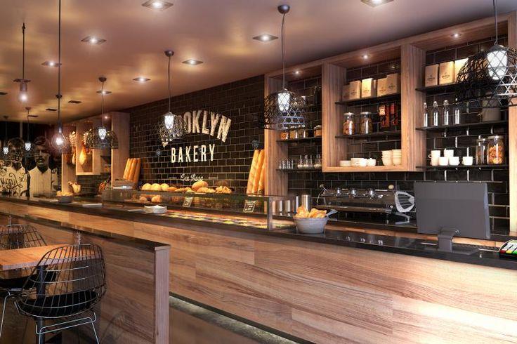 Black bricks & wood -Bakery Concept | Interior visualisations via ronenbekerman