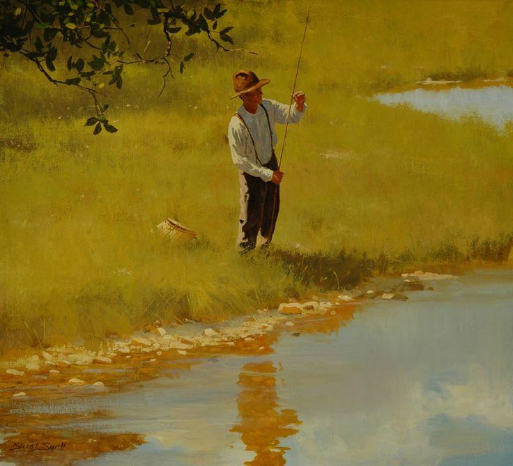 BRETT SMITH - Pescador de rio   Óleo sobre tela - 55,88 x 60,96       ANTONIO PARREIRAS - Paisagem em Friburgo   Óleo sobre tela - 60 x 7...