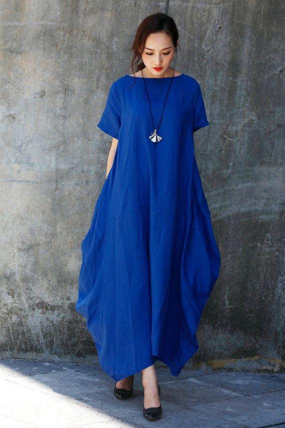Royal Blue Maxi Dress / Unique Loose fitting Long Dress / Blue Sundress…