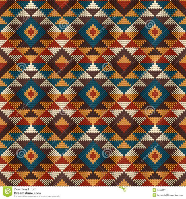 Традиционный Племенной ацтеков бесшовные узор на шерстяной вязаный тэ