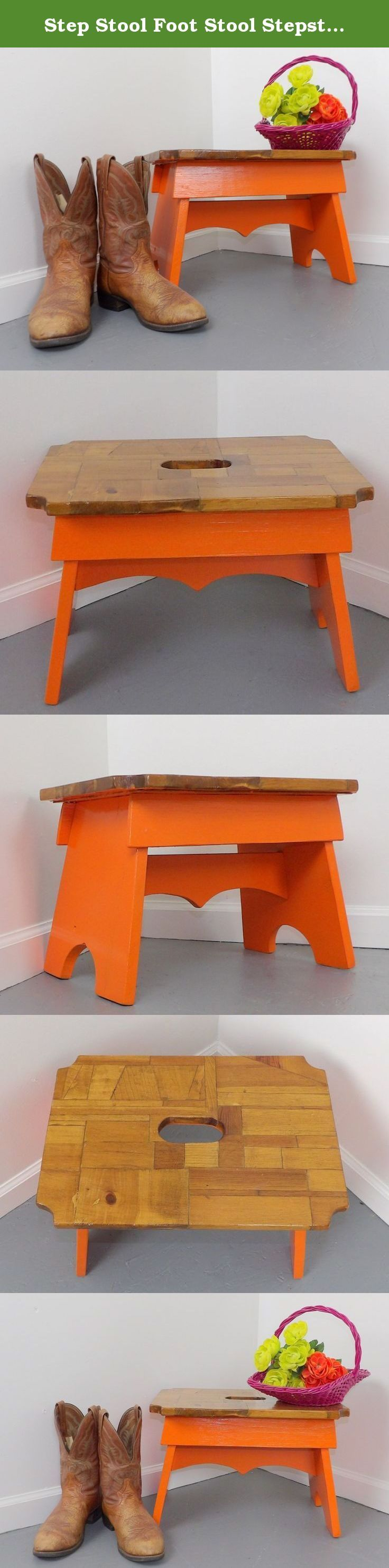 image quarter bamboo bathroom stool step stool foot stool stepstool orange kitchen vtg vintage stepstool orange wood kitchen step small