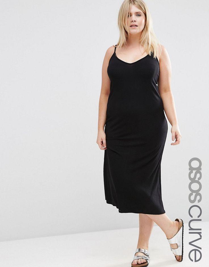 Изображение 1 из Базовое платье-комбинация в рубчик ASOS CURVE