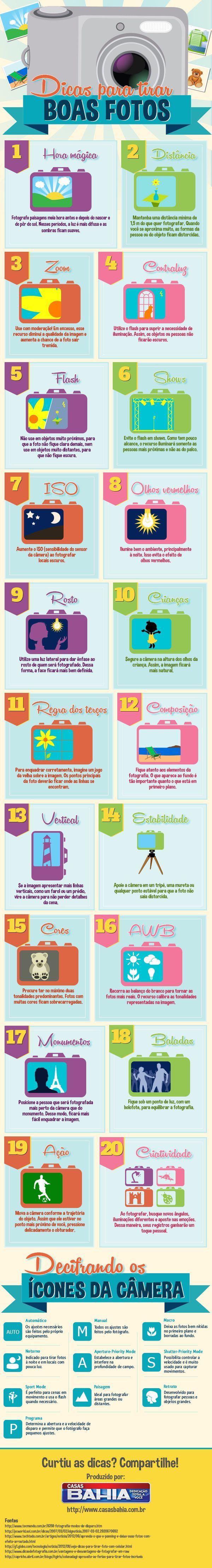 Infográfico - 20 dicas para tirar fotos legais