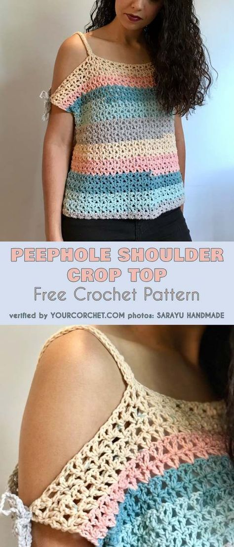 58d2ea0c5de5 Peephole Shoulder Crop Top Free Crochet Pattern - Sizes from S to XL   freecrochetpatterns  crochettop  croptop  summerstyle