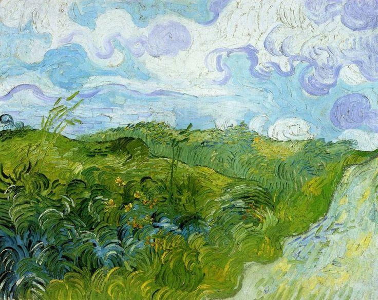"allthepainting: "" Green wheat field with cypress, Green wheat fields, Artist:Vincent van Gogh """