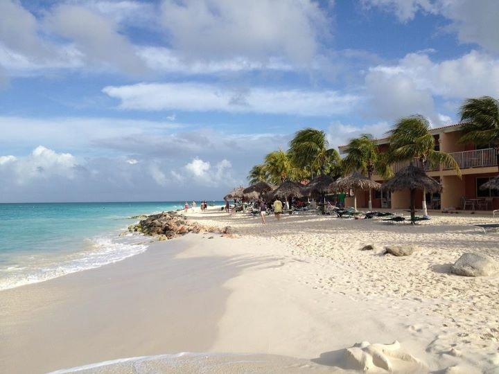 This morning in Aruba, the beach at Aruba Beach Club