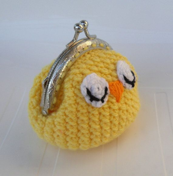Funny yellow crochet coin purse Chick face coin purse ♡ by sankorra