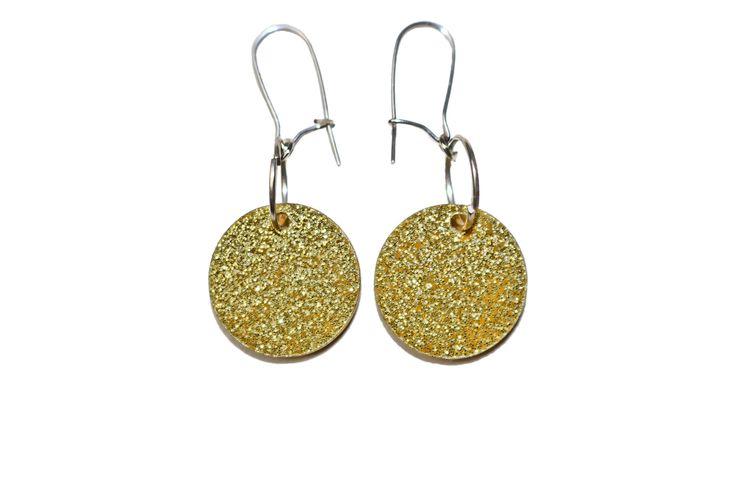 Acrylic Earrings Glitter Circle - 6 Colours - Gold Silver Black Pink Red Blue
